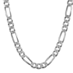 "Men's 925 Sterling Silver Figaro Diamond-Cut Chain Necklace - 7mm - 26"" - 50.3g"