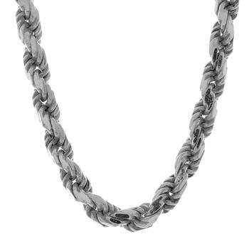 Men's Vintage Classic Estate 925 Sterling Silver Diamond-Cut Rope Chain Necklace