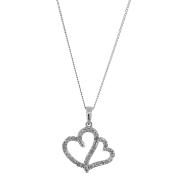 Ladies Vintage Estate 925 Sterling Silver Diamond Entwined Double Heart Pendant & Chain Necklace