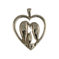 Ladies Estate 925 Sterling Silver Penguin Family Heart-Shaped Charm Pendant