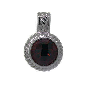 Ladies Estate 925 Sterling Silver Round-Cut Dark Red Synthetic Garnet Pendant