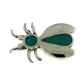 Vintage Estate 925 Sterling Silver Beetle Bug Animal Green Turquoise Enamel Pin Brooch - 18mm