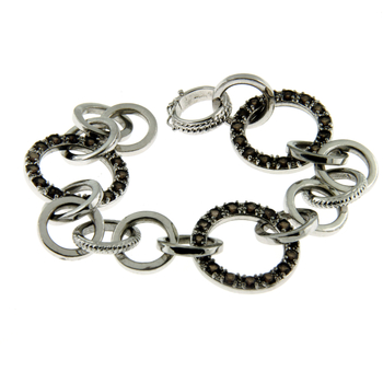 Ladies Vintage Estate 925 Sterling Silver Circles Link Chain Smoky Brown Quartz Bracelet