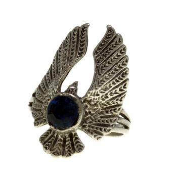 Ladies Men's Vintage 925 Sterling Silver Blue Stone Eagle-Shaped Animal Ring