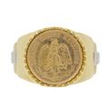 Men's Vintage Estate 1945 Estados Unidos Mexicanos Dos Pesos Gold Coin Ring
