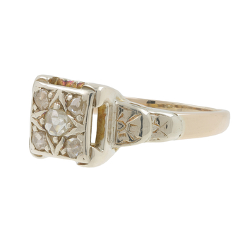 Ladies Antique Estate 10K White & Yellow Gold Rough Diamond Ring - 0.43CTW