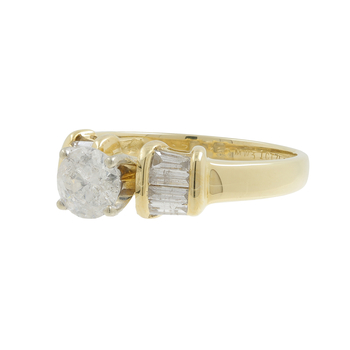 Ladies Vintage Estate 14K Yellow Gold Round & Baguette Diamond Solitaire with Accent Ring