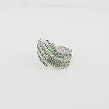 Gorgeous Unique Green Diamond Baguette Right Hand 14K Yellow Gold Cocktail Ring