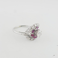 Stunning Ladies Estate Jewelry 14K White Gold Diamond & Spinel Right Hand Ring