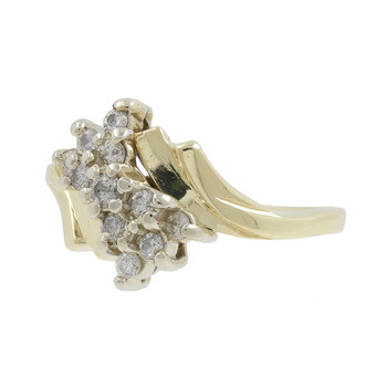 Ladies Estate 14K Yellow Gold Diamond Bypass Cluster Cocktail Ring - 0.37CTW