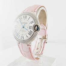 Ladies Automatic 38mm Cartier 18K White Gold & Diamond Ballon Bleu Watch