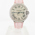 Ladies Automatic 38mm Cartier 18K White Gold & Diamond Ballon Bleu Watch