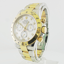 Rolex Cosmograph Daytona Yellow Gold Steel MOP Dial Diamond Markers 116523 Watch