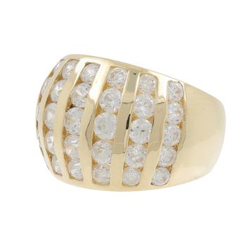 Ladies Men's Estate 14K Yellow Gold White Cubic Zirconia Gemstone Ring Band