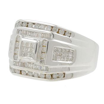 Men's Estate 14K White Gold Round, Princess & Baguette Diamond Signet Ring - 1.50CTW