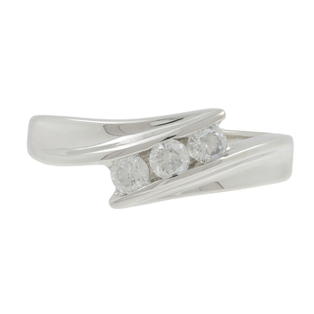 Ladies Classic Estate 14K White Gold Diamond Bypass Three-Stone Ring Band