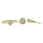 Ladies Vintage 14K Yellow Gold Diamond Ring & Earrings 2PC Floral Jewelry Set