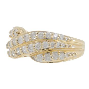 Ladies Estate 14K Yellow Gold Diamond Swirl Bypass Cocktail Ring Band - 0.90CTW