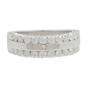 Ladies Men's Vintage Estate 14K White Gold Round Diamond Ring Band - 1.20CTW