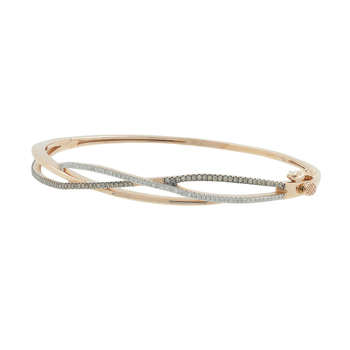 Ladies Estate 10K Rose Gold White & Champagne Diamond Bangle Bracelet - 0.78CTW