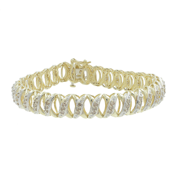 Ladies Classic Estate 10K Yellow Gold Champagne Diamond X-link Bracelet - 2.40CTW