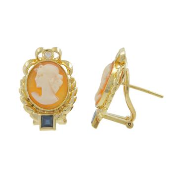Ladies Estate Antique 14K Yellow Gold Portrait Cameo Diamond Blue Topaz Earrings