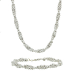 Ladies 18K White Gold Diamond-Cut Ball Bead Chain Necklace & Bracelet Jewelry Set