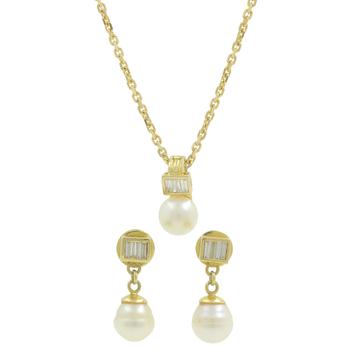 Ladies Estate 14K Yellow Gold Cream Pearl & Diamond Earrings & Pendant Chain Necklace