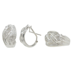 Ladies 18K White Gold Baguette Diamond Bypass Ring & Earrings Jewelry Set - 5.50CTW