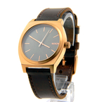 Men's Nixon Gun Rose Gold-Tone Time Teller Brown Leather Band Watch - A0452001