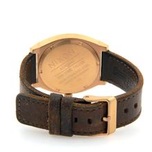 Men's Nixon Gun Rose Gold-Tone Time Teller Brown Leather Band Watch - A0452001