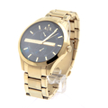 Men's Armani Exchange AX Black Dial Gold PVD Stainless Steel 46mm Watch - AX2122