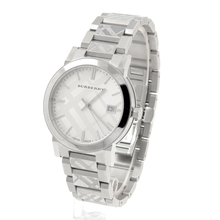 Burberry Checked Trademark Silver Stainless Steel 38mm Watch - BU9037 - Mint
