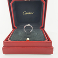 Cartier 18k White Gold 3 Diamond 5.5mm Love Ring Band sz 50 US 5.25 Polished