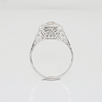 Gorgeous Estate 20K White Gold Vintage Wedding Engagement Milgrain Accent Ring