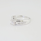 Ladies Engagement 1.51 Carat Total Diamond Cathedral Shank 18K White Gold Ring