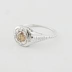 Rare Ladies Estate 0.40 Natural Brown Diamond Engagement Art Deco 18K Gold Ring