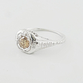 Rare Ladies Estate 0.40 Natural Brown Diamond Engagement Art Deco 18K Gold Ring