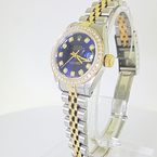 Ladies Rolex Datejust Diamond Bezel & Markers Yellow Gold Steel Navy Dial Watch