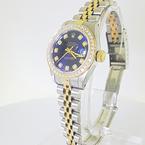 Ladies Rolex Datejust Diamond Bezel & Markers Yellow Gold Steel Navy Dial Watch