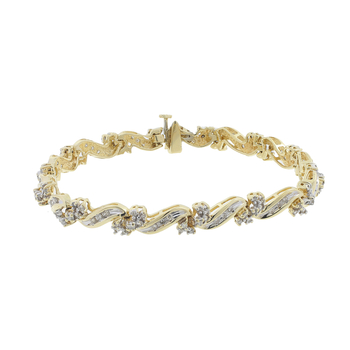 Ladies Vintage Classic Estate 10K Yellow Gold Diamond Link Bracelet - 2.21CTW