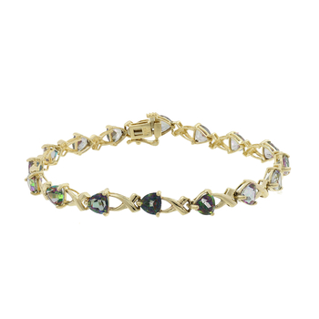 Ladies Vintage Estate 14K Yellow Gold Trielle-Cut Mystic Topaz Gemstone Link Bracelet