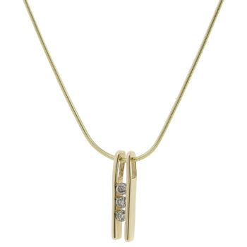 "Vintage Estate 14K Yellow Gold Three-Stone Diamonds Pendant 17"" Chain  Necklace"