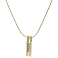 "Vintage Estate 14K Yellow Gold Three Diamonds Pendant Fancy 17"" Chain  Necklace"