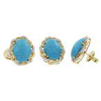 Ladies Estate 14K Yellow Gold Blue Turquoise Gemstone & Diamond Ring and Earrings Set