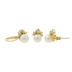 Ladies Estate 14K Yellow Gold Cream Pearl & Diamond Ring & Earrings Jewelry Set