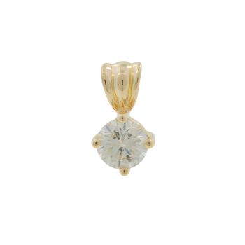 Ladies Classic Estate 14K Yellow Gold Round-Cut Diamond Charm Pendant - 0.50CT