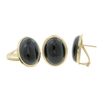 Ladies Estate 14K Yellow Gold Black Onyx Cabochon Ring & Earrings Jewelry Set