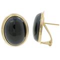 Ladies Estate 14K Yellow Gold Black Onyx Cabochon Ring & Earrings Jewelry Set