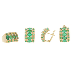 Ladies Estate 14K Yellow Gold Emerald & Diamond Ring Earrings Pendant Jewelry Set